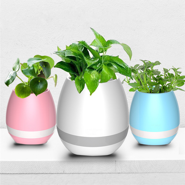 Portable Wireless Bluetooth Stereo Intelligence LED Lamp Music Flower Pot