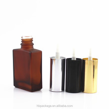 dark matte brown glass bottles 30ml with silver gold pump cap 262-HBG