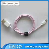 Cable for iPhone 5 charging MFI certified for iPhone colorful flat noodle usb cable 1m pink with printed logo