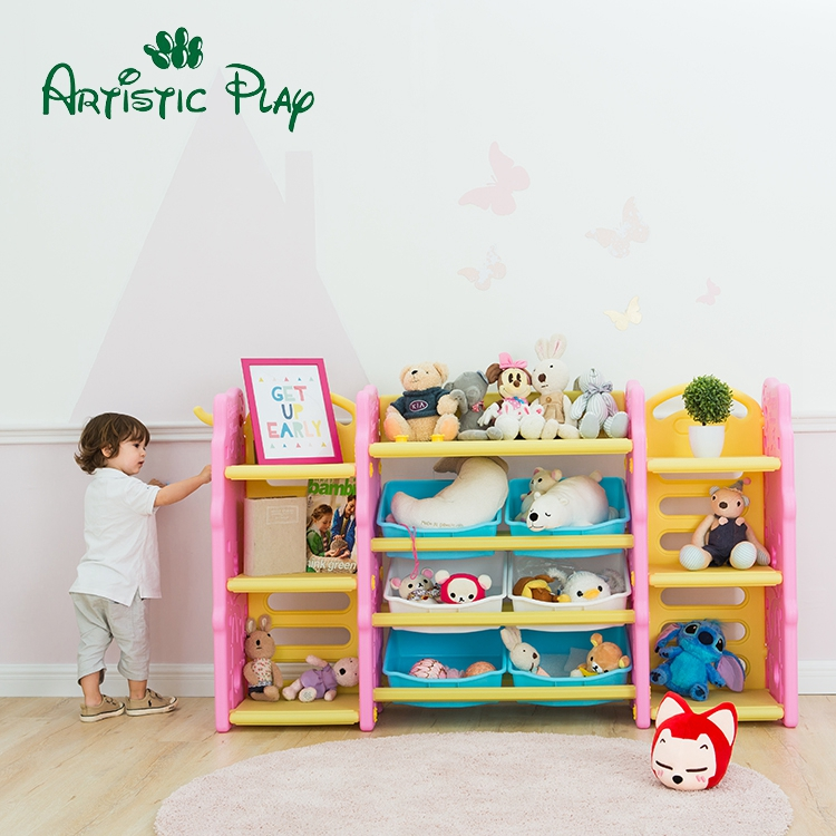 High quality children toy storage bin rack for home