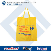 Yellow color cotton shopping bag with logo printed and cotton handles