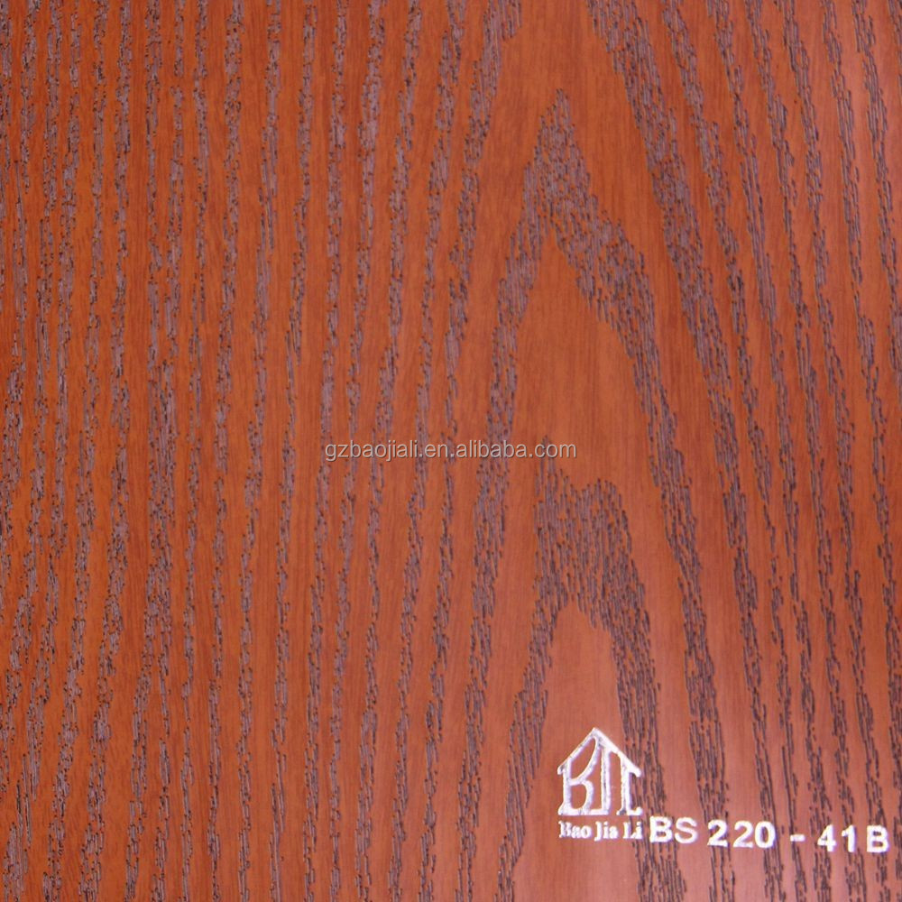 New design 3D synchronous embossing printing wood grain pvc decorative film for cabinet and furnitures