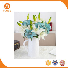 Hot sale silk artificial flowers lily plastic flower for home decoration