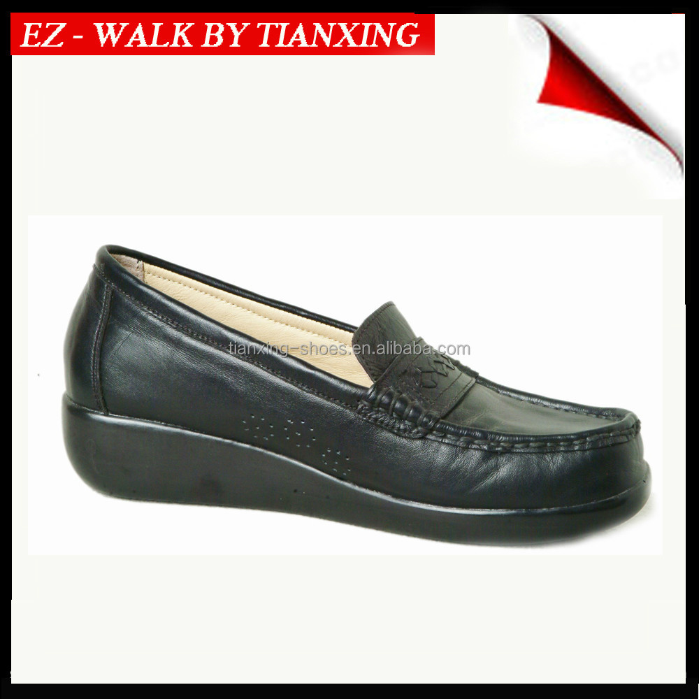 Ladies leather shoes with PU sole