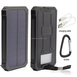8000/10000mah Solar Power Bank Charger, Portable Powered Phone Charger Dual USB External Battery Pack With Solar LED Light Black