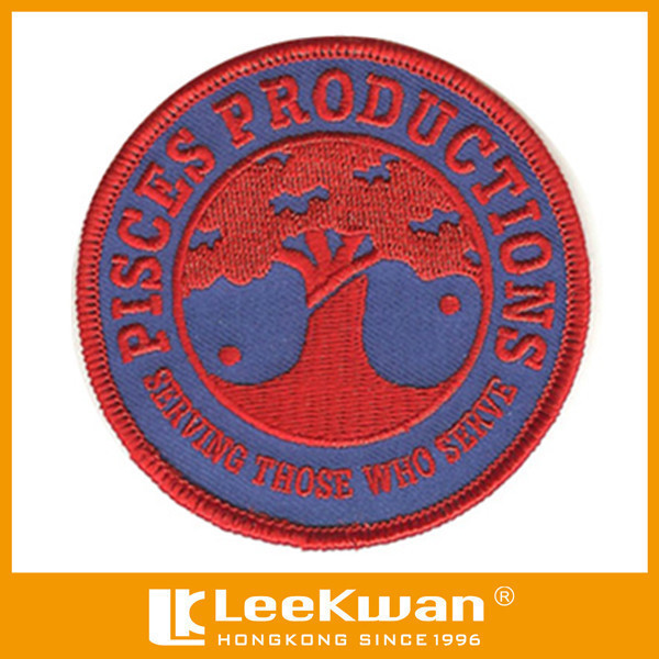 Custom service design merrowed embroidered patch iron on clothings for garment accessories