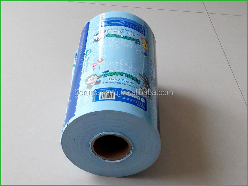 Printed blue plastic roll for grocery packing