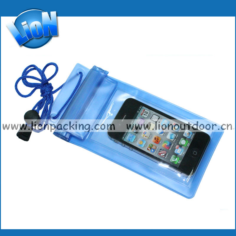 blue PVC water proof phone bag with drawstring