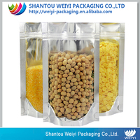 super food plastic flexible packaging large aluminium foil bags with zipper and window