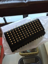 2017 New Fashion Rivet Wallets Punk Fashion Rivet Retro Vintage Leather Clutch Bag Women's Long Girls Designer Purses