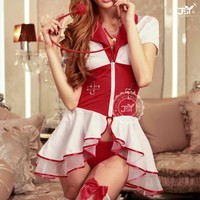 Nurse sexy dress costume, finery red and white dress,Lace club cosplay dress