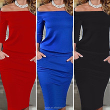 2017 New Fashion Lady Off-shoulder Sexy Long Sleeve Bodycon Slim Midi Cocktail Dress