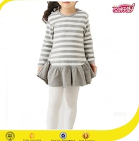 2016 Grey strip and black strip new fashion high quality baby girls dress children frocks designs girls party dresses
