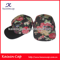 Custom 5 Panel Floral Caps With Leather Brim Blank Five Panel Hats