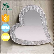 Antique Punched Metal Silver Sticker On Heart Shaped Wall Mirror for Interior Decor