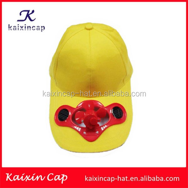 custom muti color cotton solar battery fan hat