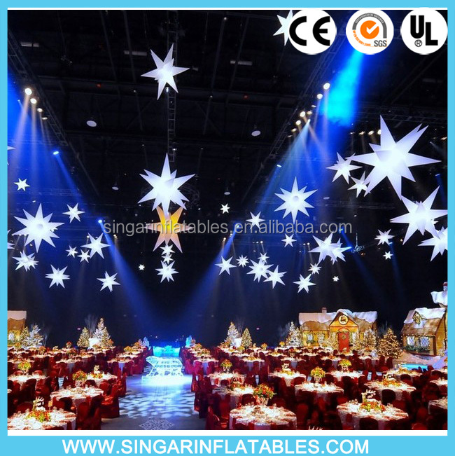 Free shipping good quality inflatable holiday decoration star glowing wedding star