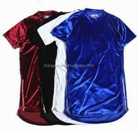 2016 New Fashion Hi-Street Men Extended Shirt Velour Mens Hip Hop Longline T Shirts Golden Side Zipper Velvet Curved Hem Tee