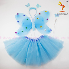 Child Girls Sequined Butterfly Angel Wings + Tutu Skirt Halloween Christmas Party Cosplay Costume