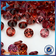 small size round brilliant cut rose red garnet