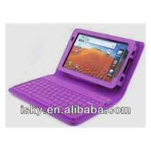 Warehouse Price Slimbook PU Leather Bluetooth Keyboard and Protective Case for Samsung Galaxy Tab 7.0 Plus P6200/P3100 - Purple