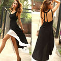 2015 sexy women deep U Neck backless dress hem tank sleeveless summer maxi dress with dovetail 8020