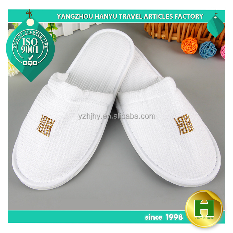 Walf Checks Hotel Slippers / Fashion Waffle Pattern EVA Guest Slippers / Disposable Custom Embroidered Hospital Spa Slippers