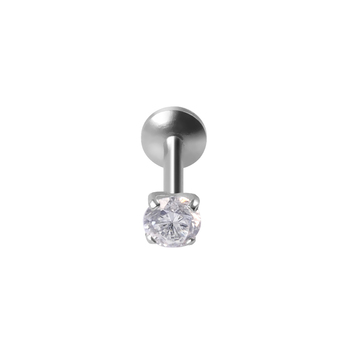Fashion cubic zircon prong setting push in labret lip ring piercing wholesale