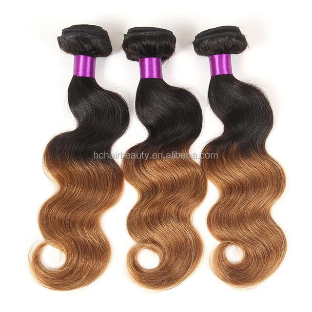 2017 Fashion Peruvian Virgin Hair Ombre Colour 1b/30 Raw Unprocessed 8a Body Wave 100% Human Virgin Peruvian Hair Weaving