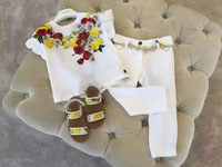 Summer Hot Style Printing T Pants Suits Seaside Holiday Wind Girls Lemon Small Pure Fresh Baby Girls Clothing Sets 2pieces