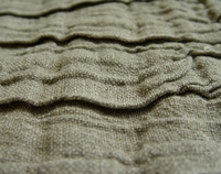 Corrugated natural grey linen cotton fabric