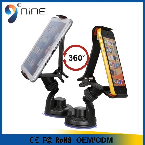 High quality large clip suction cup car cell phone holder for car/desk