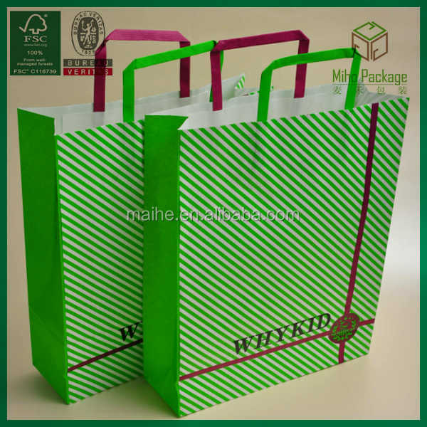 flat handle white kraft paper bag