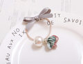 Sweet flower shape bow hair tie factory promotional pearl attched C-hb220