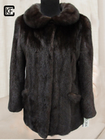good quality mink fur dark brown long coat with cheap price