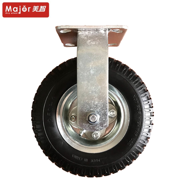 Heavy Duty Industrial Steel Plate Swivel And Fixed Roller Casters 8 inch Rubber Pneumatic Rigid <strong>Wheels</strong>