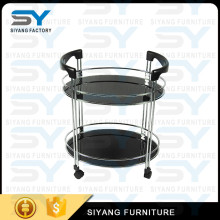 Black glass layer kitchen stainless steel food wine trolley for home CC004