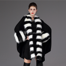 Autumn and winter European and American new shawl large size of a fox wool collar knitted cardigan cape overcoat woman