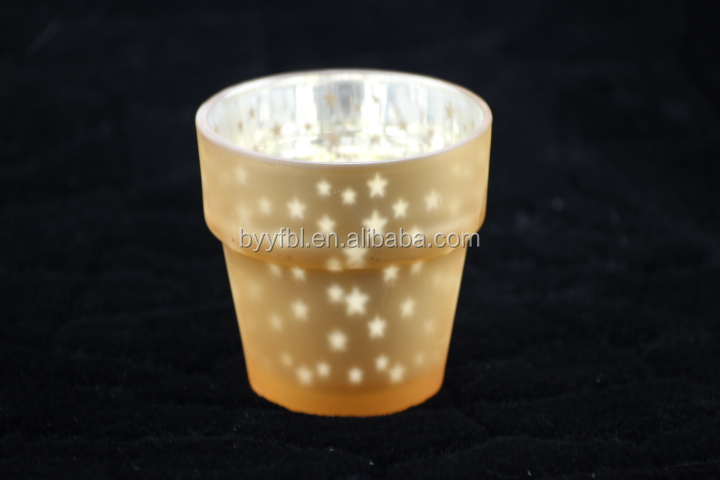 Wholesaler Christmas Frosted Yellow glass candle holder