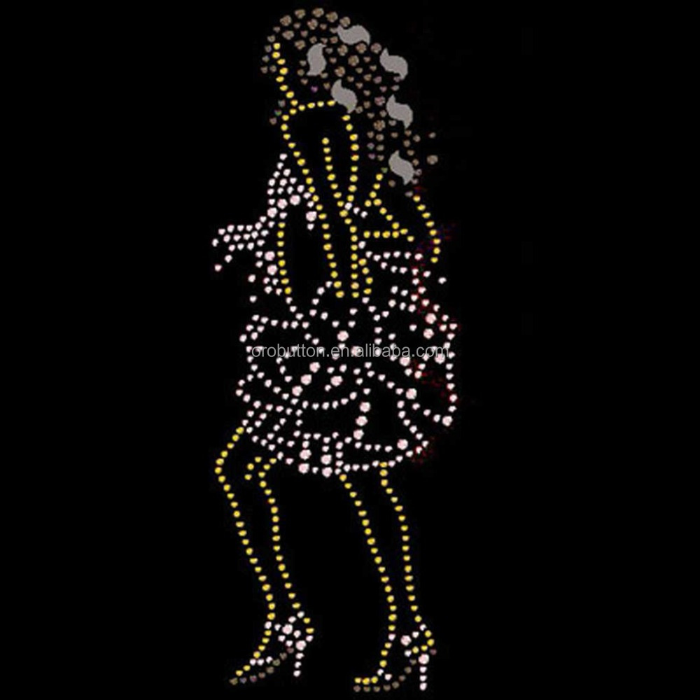 Bling bling afro girl rhinestone transfer design for T shirts