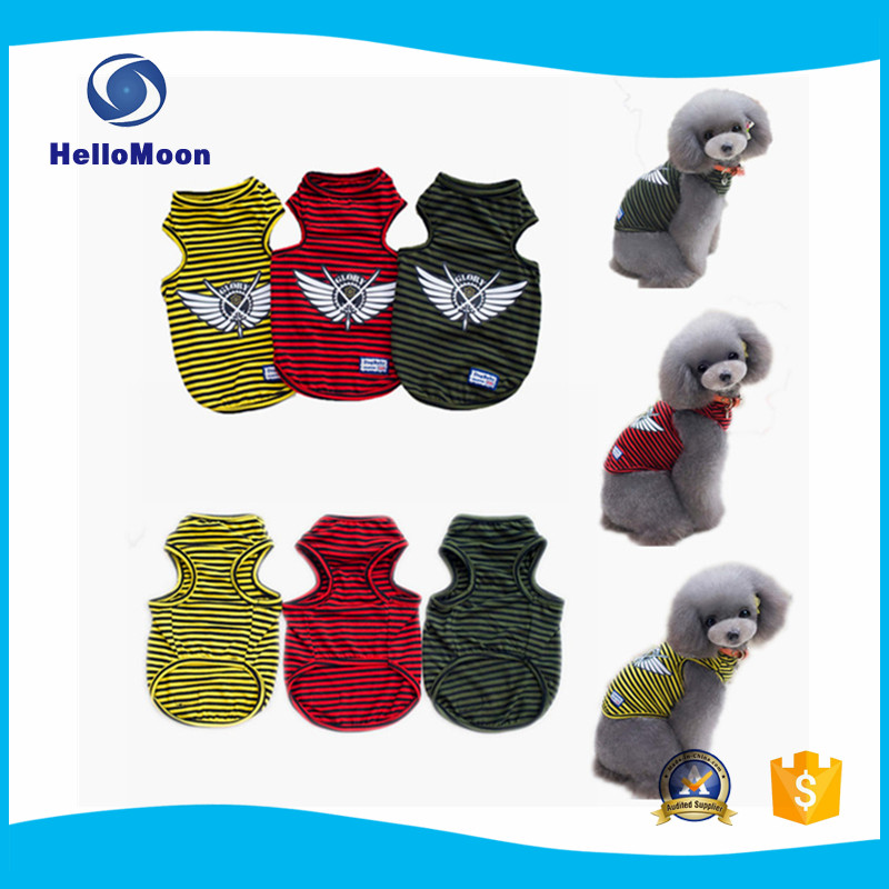 Wholesale Old Navy Striped Dog Clothes For Summer Soft Cotton Puppy T-shirts Vest