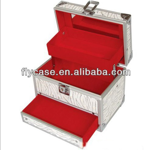 make up train case aluminum cosmetic case with mirror