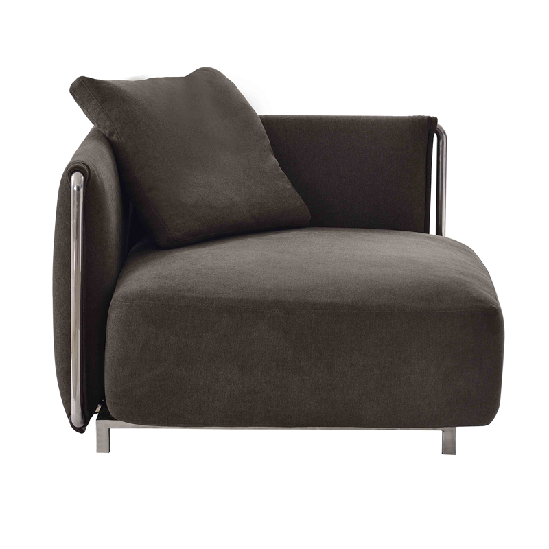 Italian Style Fabric Designs Of Single Seater Sofa With Chrome Steel Frame