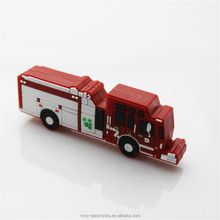 Soft pvc material 3D design promotional gift fire truck shape usb flash drive stick 8GB with gift box