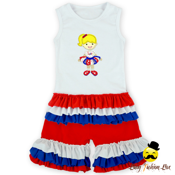 Hot Sell Ruffle Sleeveless Printed Cartoon Tank Tops Icing Short Leggings Boutique Baby Girl Patiala Suits