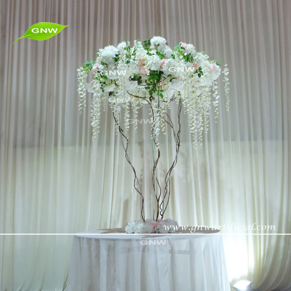 GNW CTR1605011 cream white table centerpieces decoration hydrangea and wisteria flowers for wedding