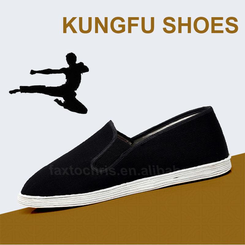 Black cotton Sholin kungfu shoes for men