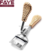 Wholesale New Luxury Design Carbon Stainless Steel Bling eyelash curler with non-slip golden handle