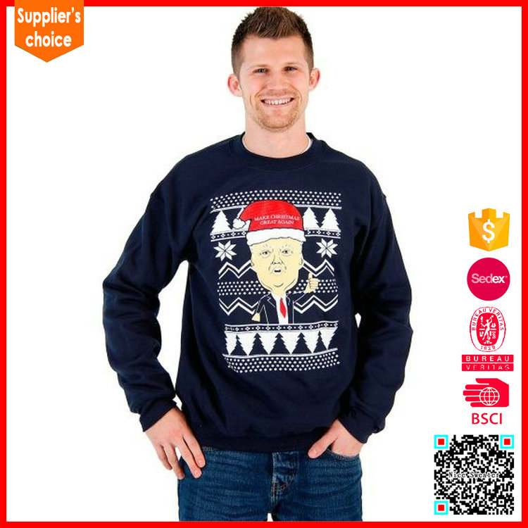 Wholesale Funny Doanld Trump Pattern Knitted Christmas Sweater for Men