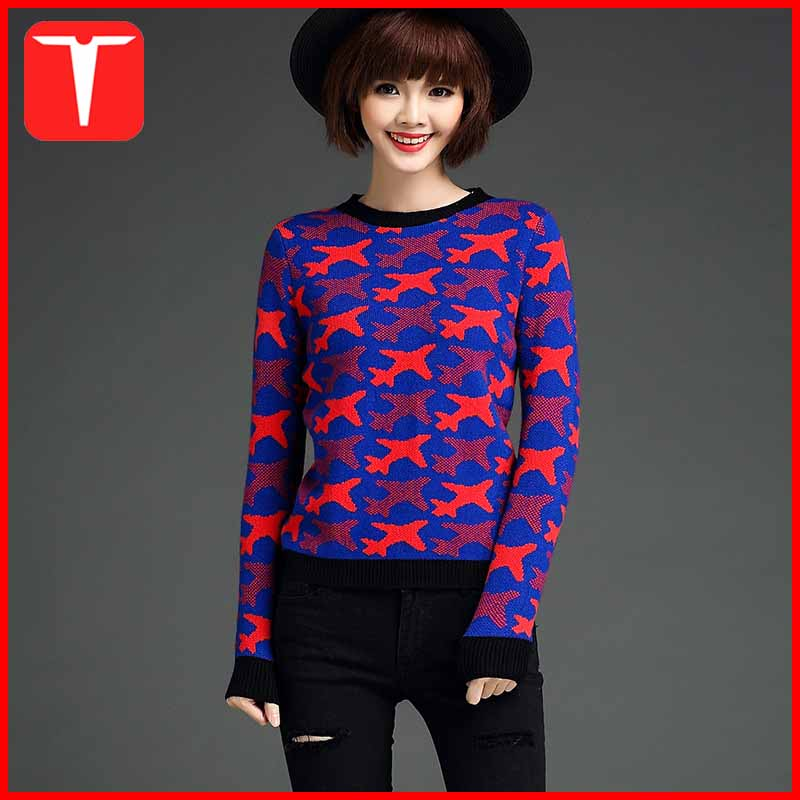 European style fashion designs jacquard women knit sweater